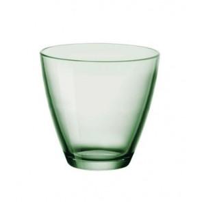 Verre à eau empilable Vert - forme basse 26cl - Lot de 6 - Bormioli Rocco