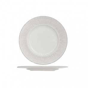 """Round flat plate 11"""" / 28cm white patina - Singly sold"""