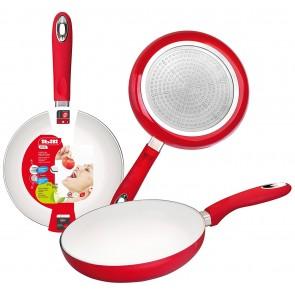 "White and red aluminium vital frying pan 9"" / 22 cm"