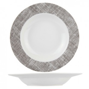 "Round deep plate 8"" / 22cm white and grey porcelain - Set of 6"
