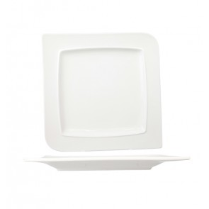 "White porcelain square plate 9""/25cm - Singly sold"