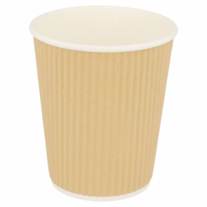 Brown double wall wavy cardboard cup 81 oz / 240 ml for hot drinks - Set of 25