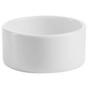 "Porcelain white round 2oz / 6cl bowl 2"" x 2"" (6.5x6.5cm)"