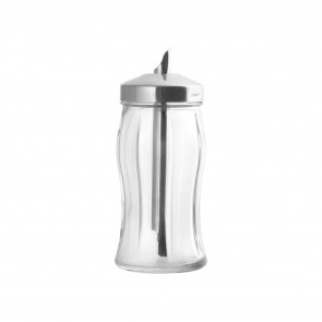 Sugar dispenser in glass with stainless steel spout