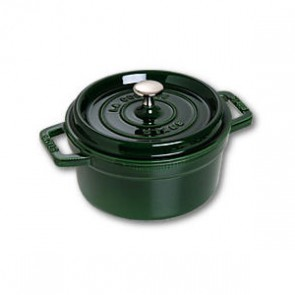 "Round cast iron cocotte 4"" / 10 cm - basil green"
