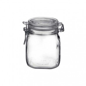 Square clear canning jar 75cl