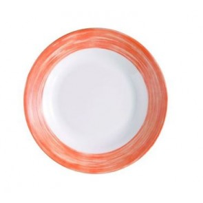 Assiette plate ronde blanche/orange 20cm
