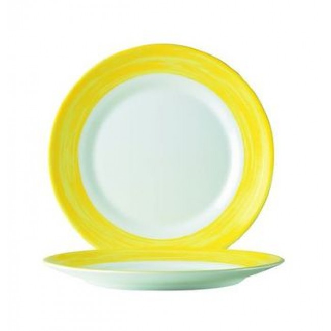assiette plate ronde blanche jaune 16cm en arcopal arcoroc. Black Bedroom Furniture Sets. Home Design Ideas