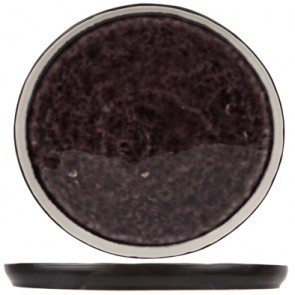 "Dessert plate black and purple 8"" / 22cm - Singly sold"