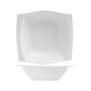 "Deep porcelain square plate 8""/21.7cm white - Sold by 6"