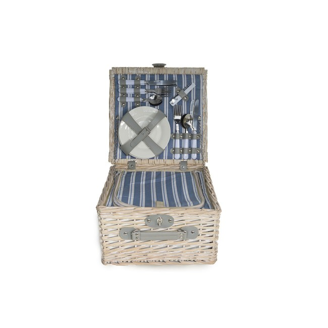 "Straw picnic basket 4 pieces - cutlery - plates - glasses - bottle opener - 14 x 13 x 14 "" / 35.5 x 33 x 35 cm"