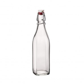 Swing top glass bottle square shaped 4 oz / 0.125 L