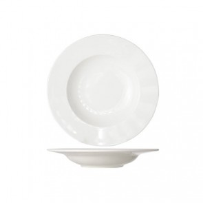 Round white cream soup plate 23 cm high quality porcelain - Set of 6