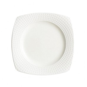 "Porcelain flat square plate 6"" / 15cm white with square geometric patterns"