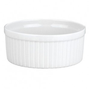 "Porcelain classic pleated soufflé dish 10oz / 30cl white 4"" / 10cm"
