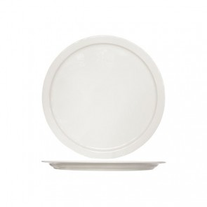 Round white cream pizza plate 32 cm height 2 cm high quality porcelain - Set of 6