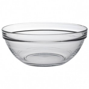"Stackable round salad bowl 6.7"" / 17cm in tempered glass"