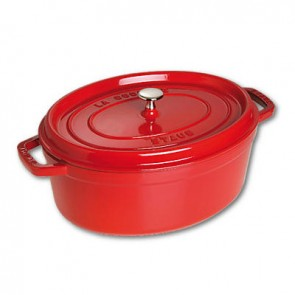 "Oval cast iron cocotte 14.5"" / 37 cm - cherry red"