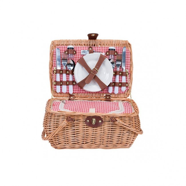 "Straw picnic basket 4 pieces - cutlery - plates - glasses - bottle opener - salt box 16 x 11 x 8 "" / 40 x 27 x 20 cm"