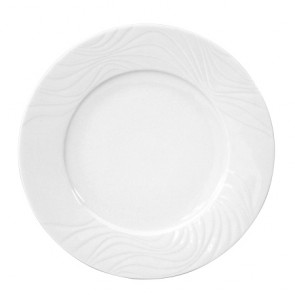 "Flat round plate white 9"" / 24cm - Set of 6"
