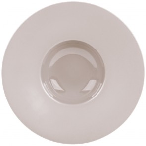 "Taupe porcelain round deep plate wide wing 12,2"" / 31cm"