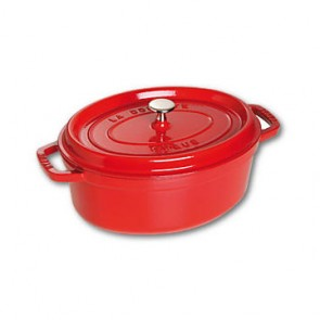 "Oval cast iron cocotte 9"" / 23 cm - cherry red"