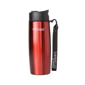 Stainless steel insulated mug with strap 35cl / 12oz red