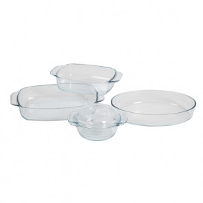 Set of 4 glass oven plates
