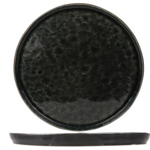 "Round flat plate black and green 10"" / 27cm - Singly sold"