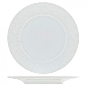 "Round flat plate white 11"" / 28cm - Set of 6"