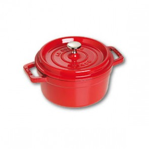 "Round cast iron cocotte 7"" / 18 cm - cherry red"