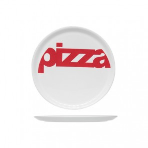 Round white pizza plate 29 cm with red inscription - Set of 6