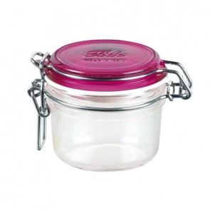 Round clear canning jar 12.5cl / 4.23oz blue lid