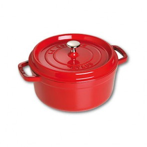 Round cast iron cocotte 20 cm - cherry red