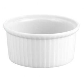 "Porcelain pleated deep soufflé dish 12oz / 35cl white 4"" / 10cm"