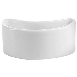 "Porcelain white half-moon 1.35oz / 4cl bowl 3"" x 2"" (7 x 4,5cm)"