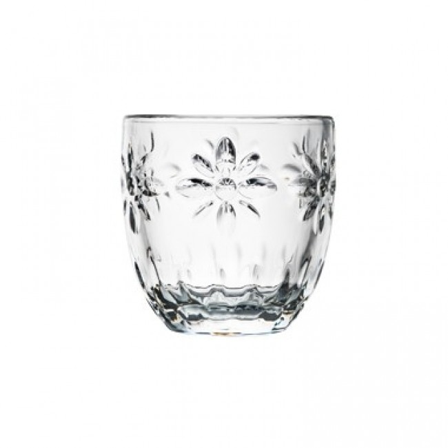 "Transparent glass expresso cup flowers pattern 3 "" / 10 cl - Set of 6"