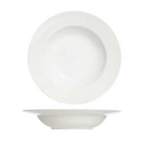 "Round deep porcelain plate white 9"" / 23cm - Set of 4"