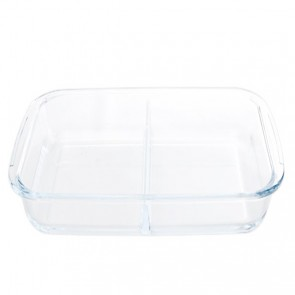 Rectangular glass oven dish 2 compartments 34.5 x 21cm / 13.4 x 8.3""