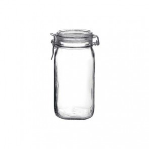 Square clear canning jar 1.5 L