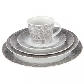 Porcelain white and grey 20 pieces dinner set