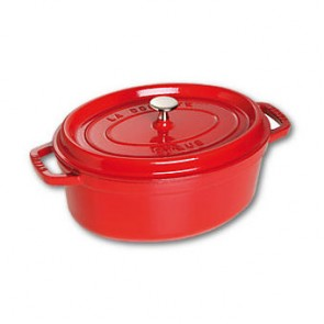 "Oval cast iron cocotte 12.2"" / 31 cm - cherry red"