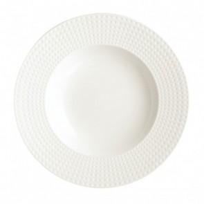 "Porcelain round pasta dish/plate 12"" / 31.5cm white with square geometric patterns"