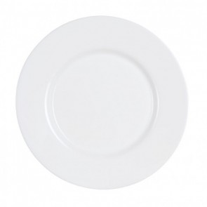 "Round flat plate white 9"" / 24cm - Sold by 6"