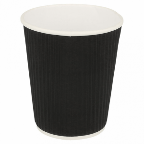 Black double wall wavy cardboard cup 12 oz / 360 ml for hot drinks - Set of 25