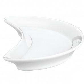 "Crescent plate 8"" / 210mm x 4"" / 105mm white porcelain - Singly sold"