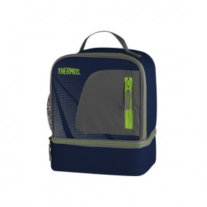 Insulated dual compartment lunch bag blue