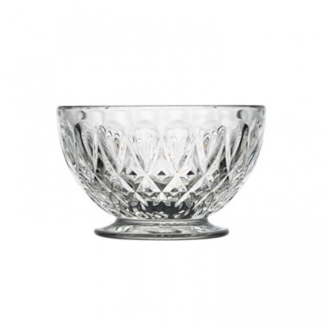 Transparent glass round bowl on stand almond pattern 9 oz / 27 cl - Set of 6