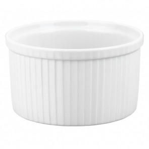 "Porcelain pleated deep soufflé dish 91oz / 270cl white 8"" / 20.5cm"
