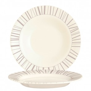 "Beige zenix round deep plate 8.6"" / 22cm with taupe-coloured scattered stick design"